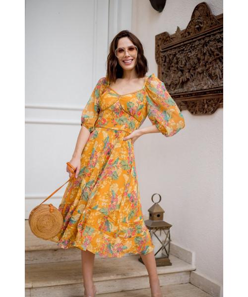 Vestido Chiffon Amarelo Flores Luzia Fazzolli