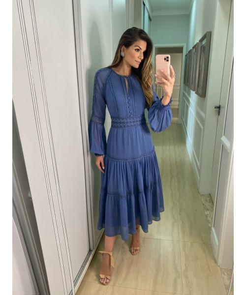 Vestido Chiffon Azul Ariane Luzia Fazzolli