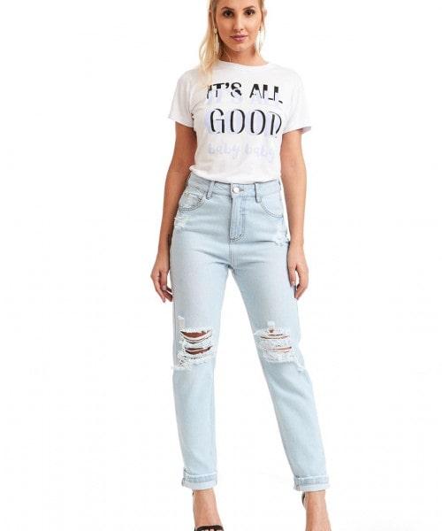 Calça Jeans Mom Trama