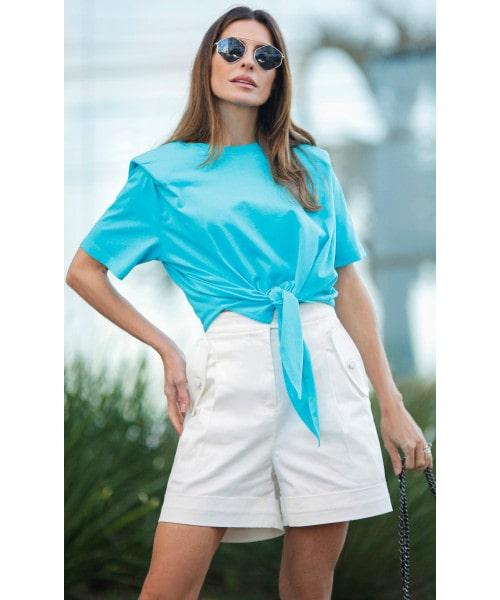 T-Shirt Malha Azul Turquesa Luzia Fazzolli