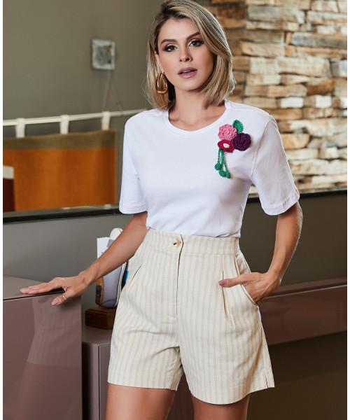T-Shirt Malha Branco Luzia Fazzolli