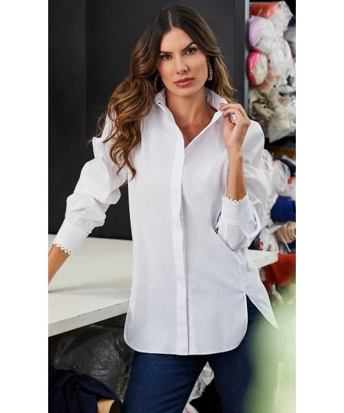 Camisa Tricoline Branca Luzia Fazzolli