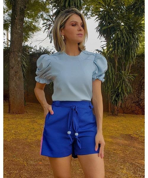 Blusa Crepe Azul